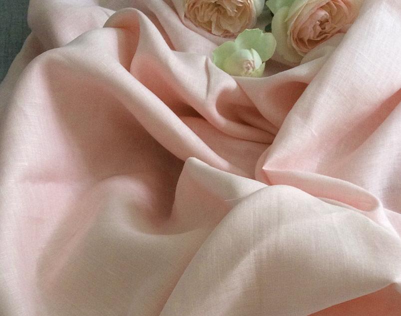 Tissu lin léger rose