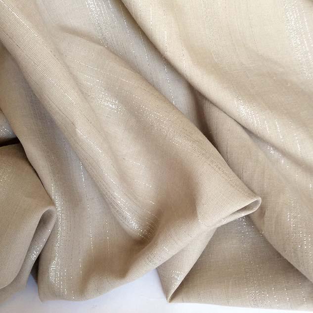 Tissu lin beige à rayures brillantes