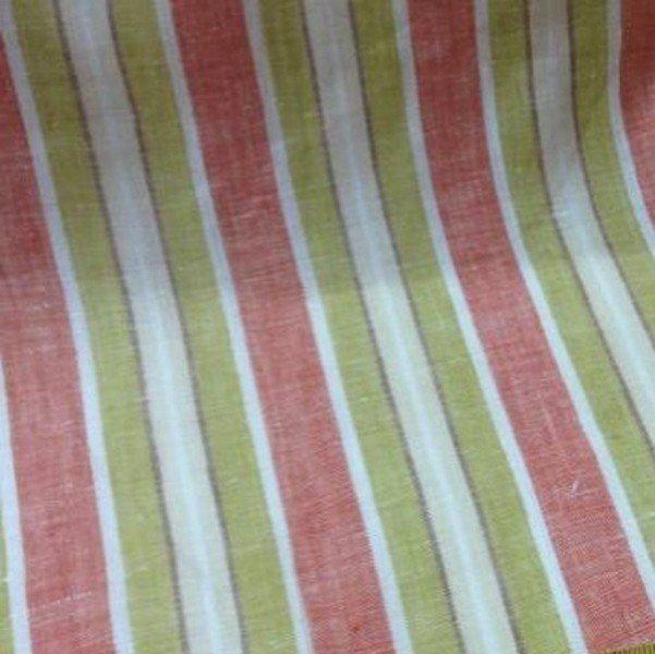 Tissu lin beige à rayures
