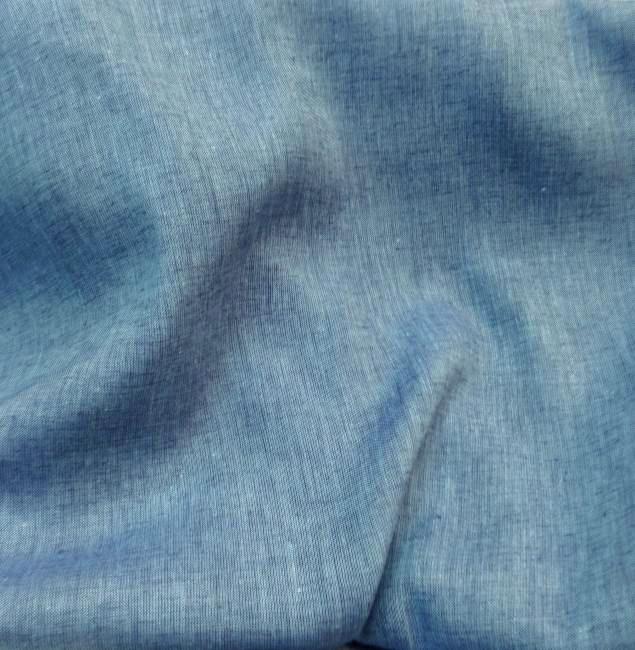 Tissu en lin bleu et turquoise