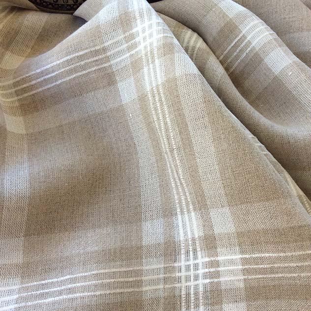 Tissu lin carreaux motif ecossais