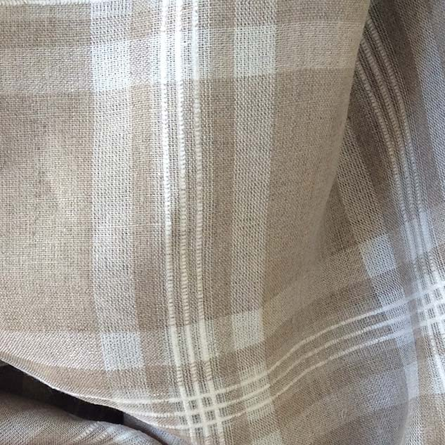 Tissu ecossais beige ficelle en lin