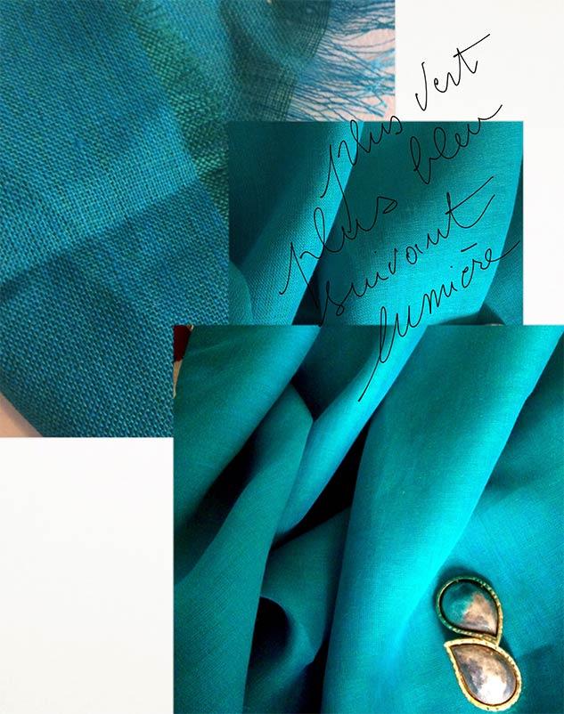 Tissu changeant bleu vert