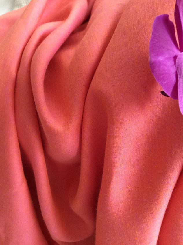 tissu lin corail couture