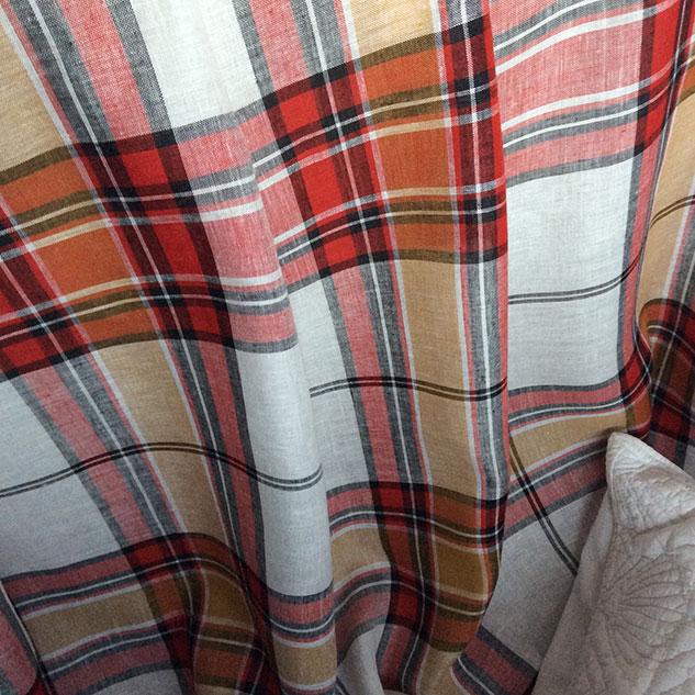 Tissu lin écossais rouge et blanc