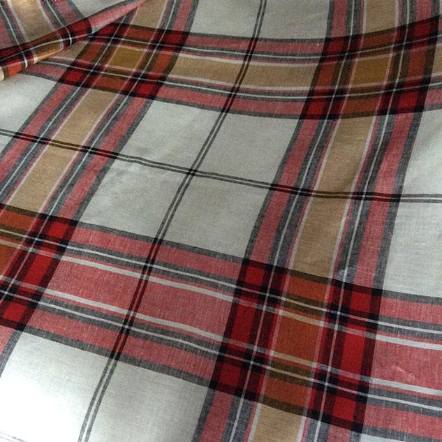 Tissu écossais rouge et blanc moderne
