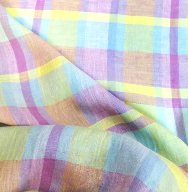 Tissu lin écossais rose