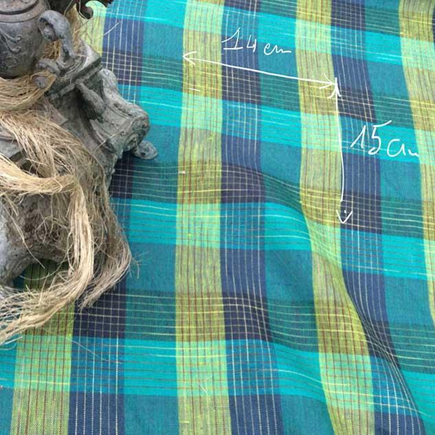 Tissu lin écossais vert cardailhac