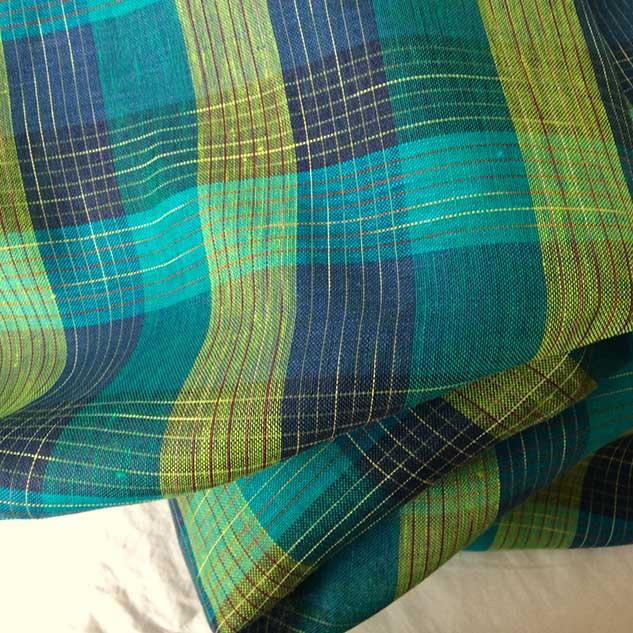 Tissu lin carreaux vert et bleu