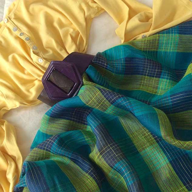 Tissu lin écossais vert et bleu mode