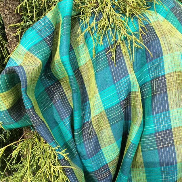 Tissu lin écossais bleu tissu rideau