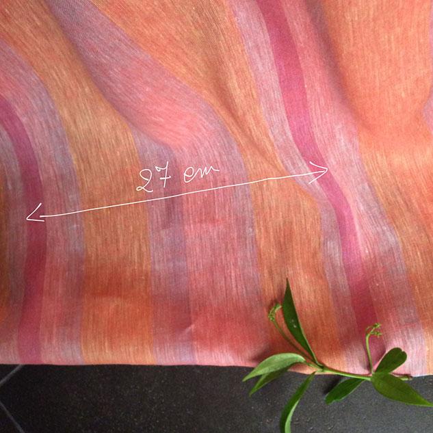 Tissu rayures rose et orange
