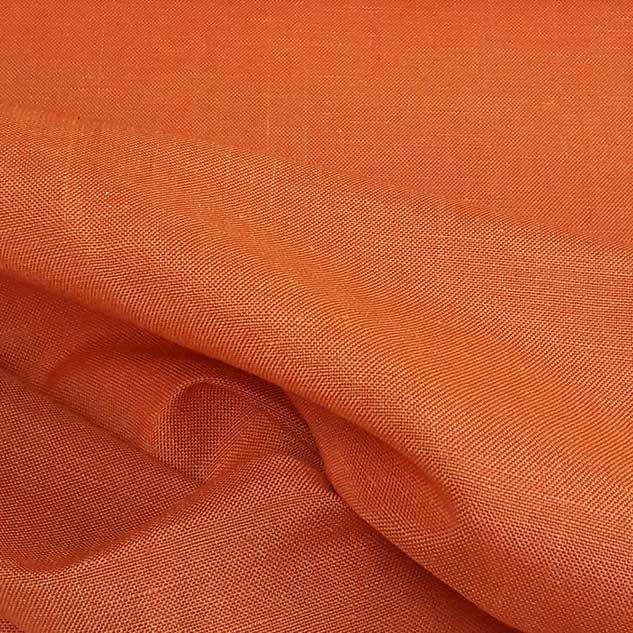 Tissu lin polyester tissu orange vif