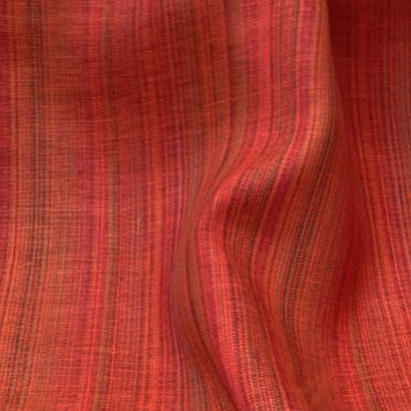 Tissu en lin rouge à rayures