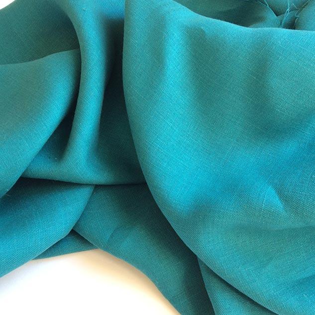 tissu couture lin bleu vert
