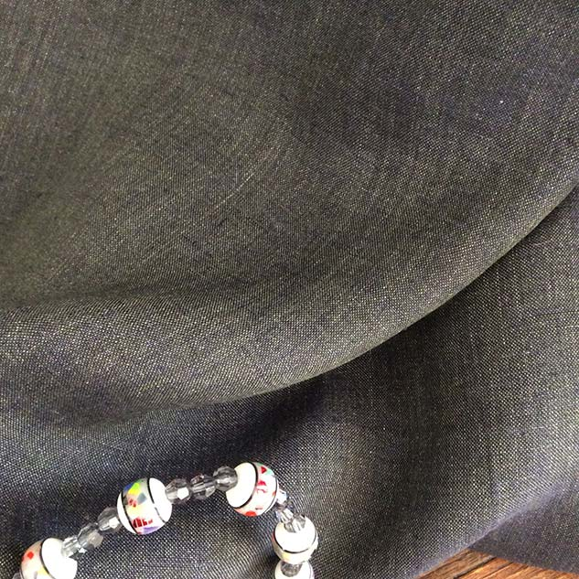 Tissu gris jean en lin