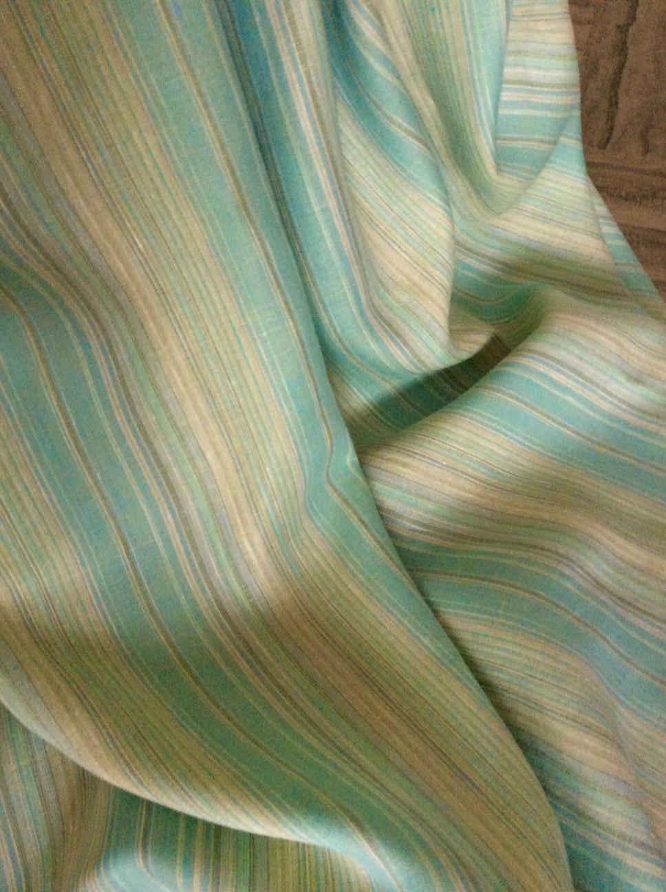 tissu rayé vert en lin pour voilage