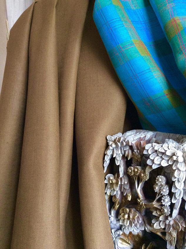 tissu kaki pour rideaux lin