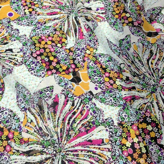 Tissu polyester imprimé floral GAUDI pour chemisier