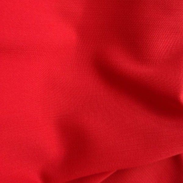 Tissu polyester laine crêpe double rouge