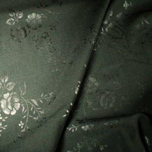 Tissu polyster laine impression florale noir