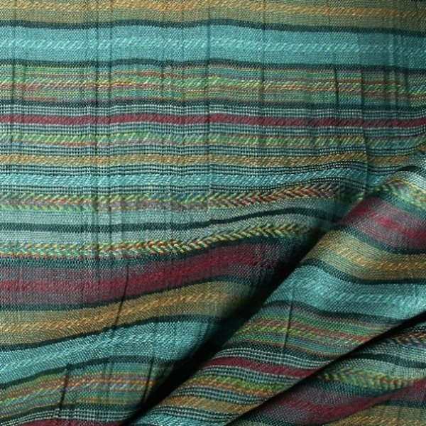 Tissu polyester lin rayures bayadères turquoise