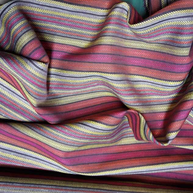 Tissu polyester à rayures rouge et jaune