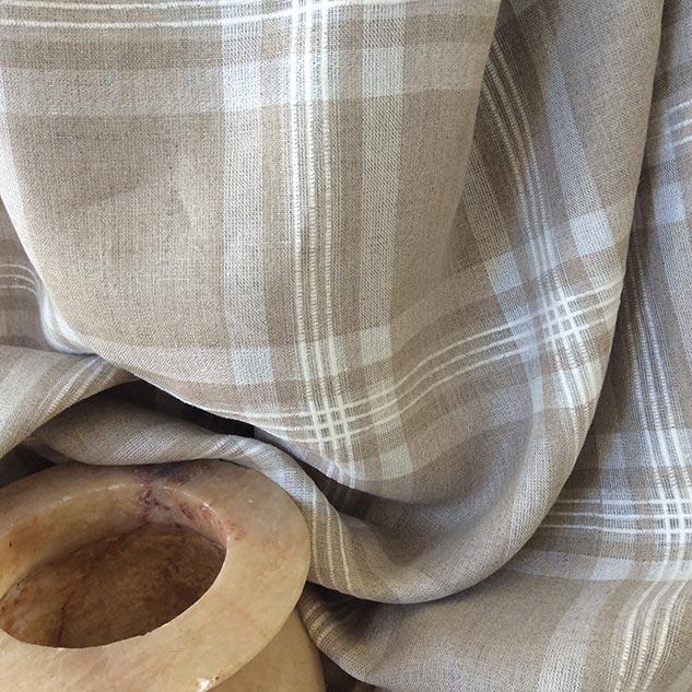 Tissu écossais beige ficelle