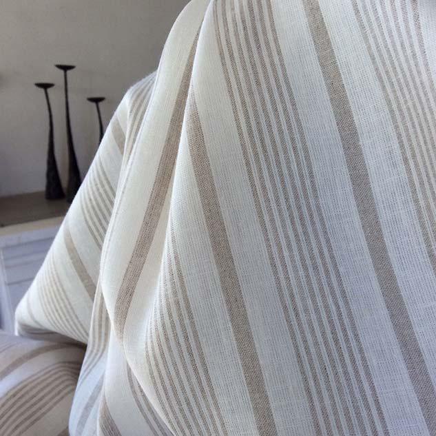 tissu lin rayé blanc et beige