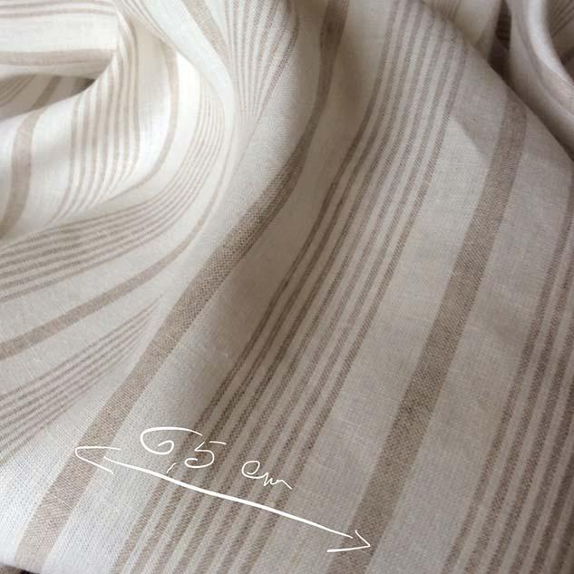 tissu lin blanc et beige