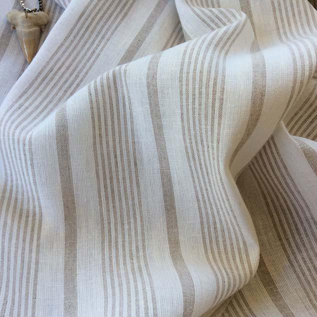 Tissu rayures blanc beige