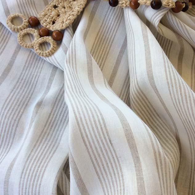 Tissu rayures blanc beige cardailhac
