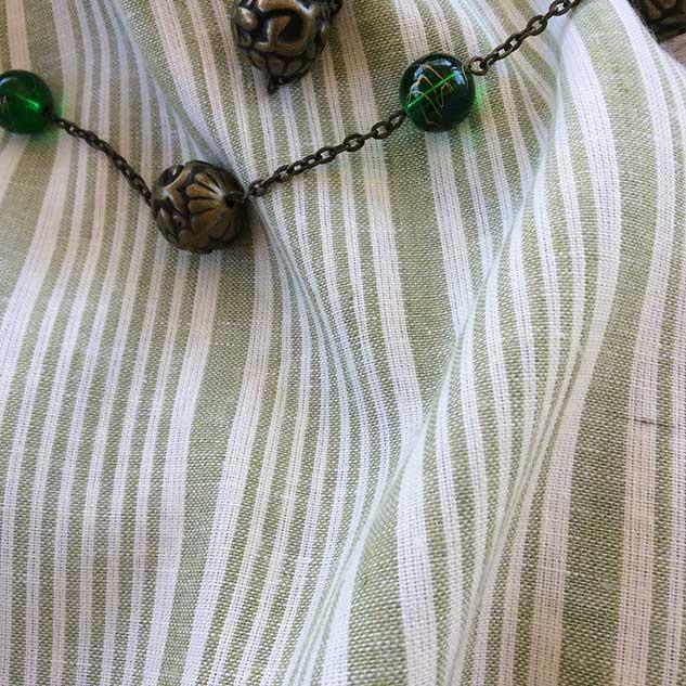 Tissu rayures blanc vert cardailhac
