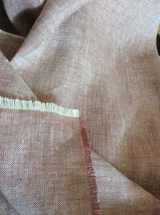 tissu chambray écru et marron