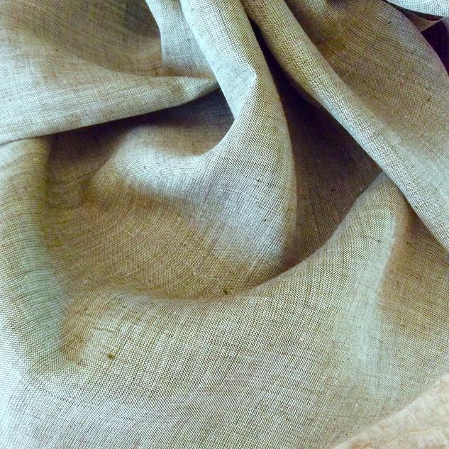tissu chambray vert amande et écru