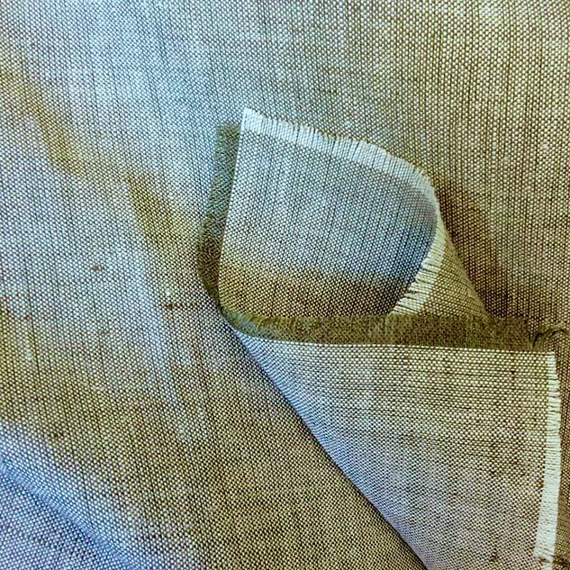 tissu lin écru et vert Cardailhac