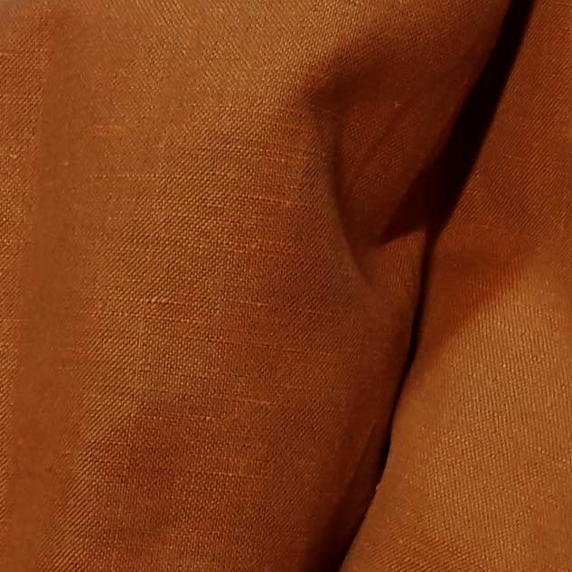 Tissu lin polyester chiné marron orange