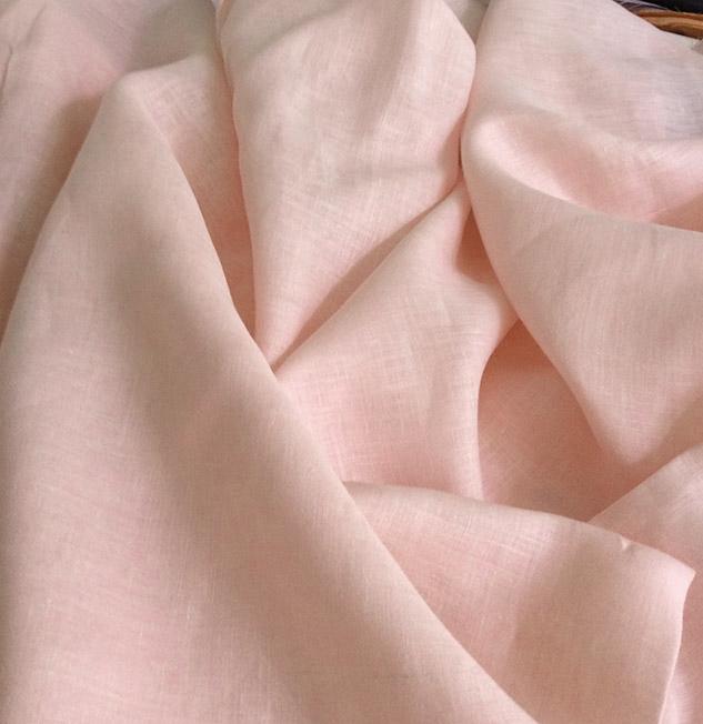 tissu rose en lin