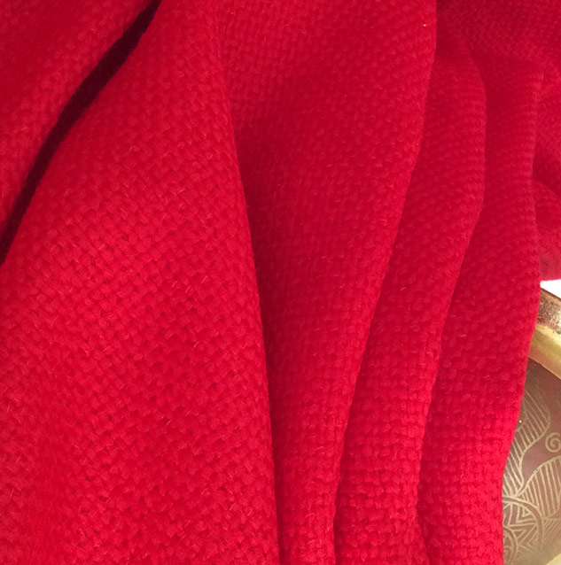 tissu tweed au mètre rouge