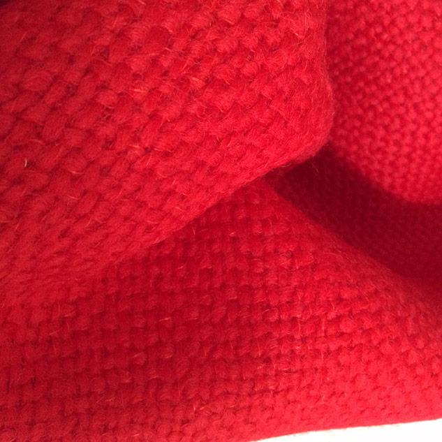 tissu rouge tweed, tissu décoration