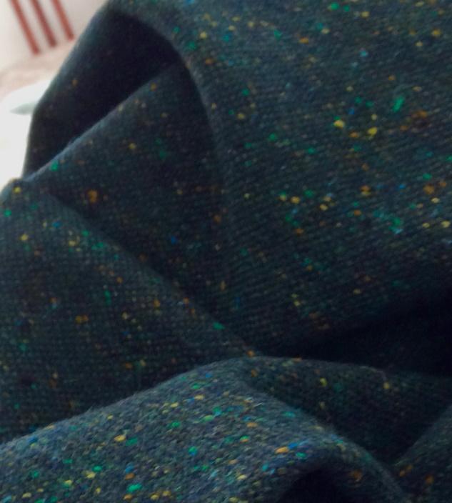 drap de laine tweed bleu