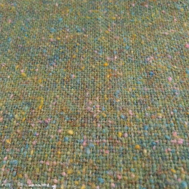 tweed en laine vert pastel chiné