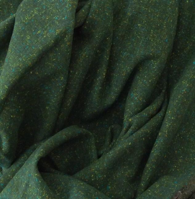 tweed en laine vert foncé chiné