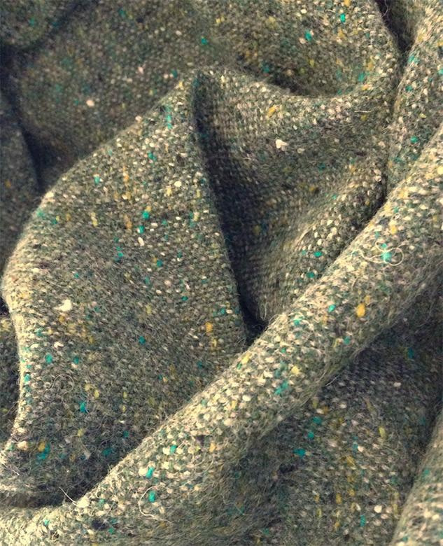 tweed en laine vert treillis chiné
