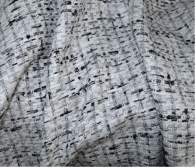 Tissu tweed carreaux blanc et noir