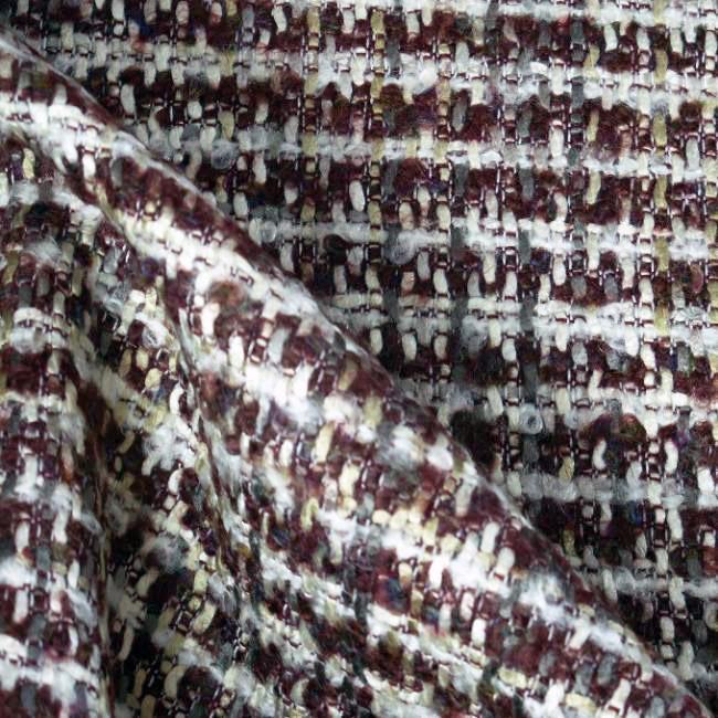 Tissu tweed bordeaux et blanc