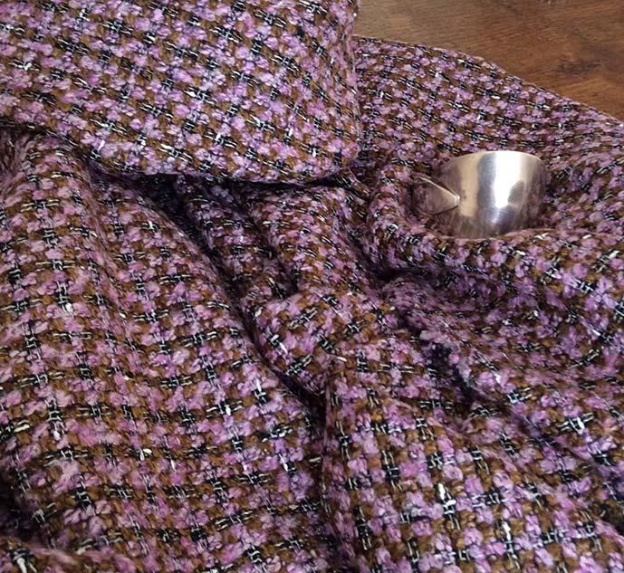 Tissu tweed carreau marron cardailhac
