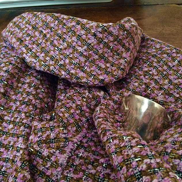 Tissu tweed marron rose