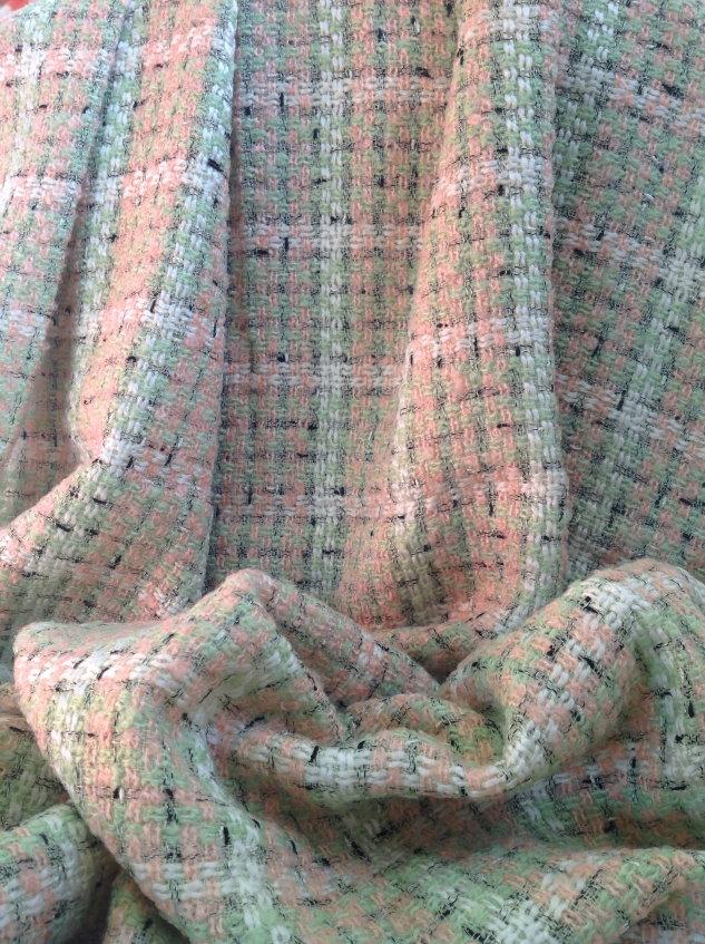 tweed vert et rose carreaux