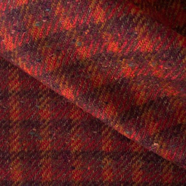 Tissu tweed delaine carreaux orange